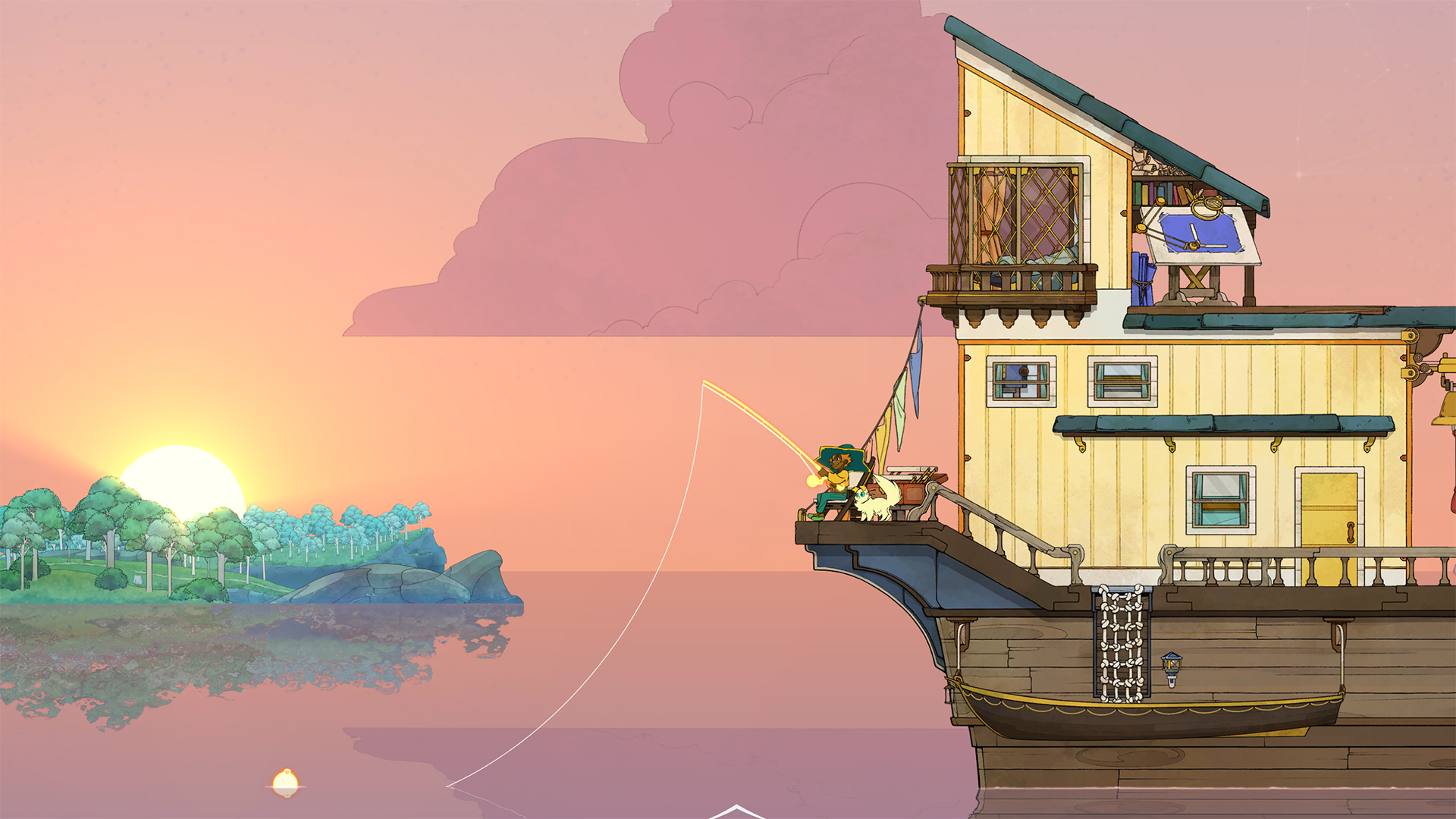Spiritfarer. Stella sits aboard her ship, fishing at sunset.
